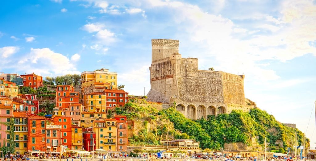 Photograph of Lerici in Italy and its colorful architectures