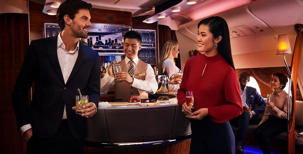 servizi lussuosi vi aspettano a bordo in Business Class