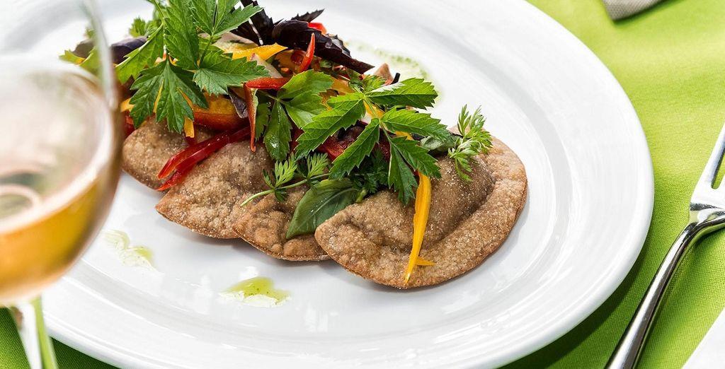 con piatti creati esclusivamente con ingredienti bio