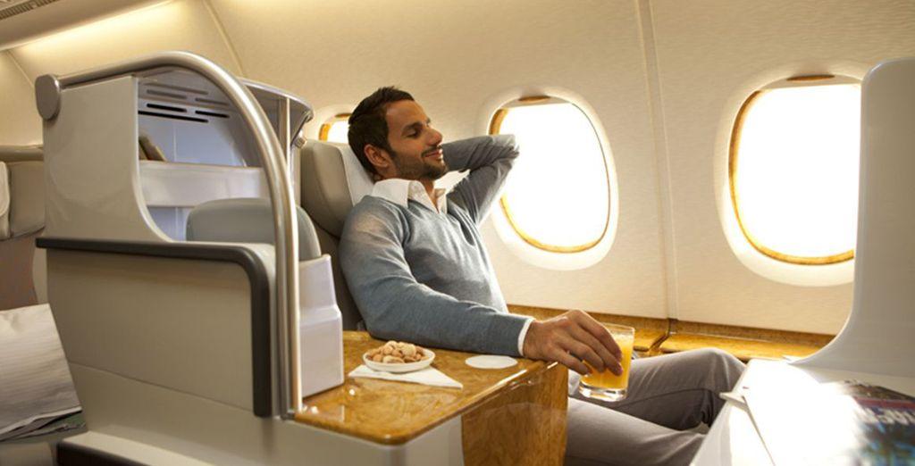 Voor een business class vlucht