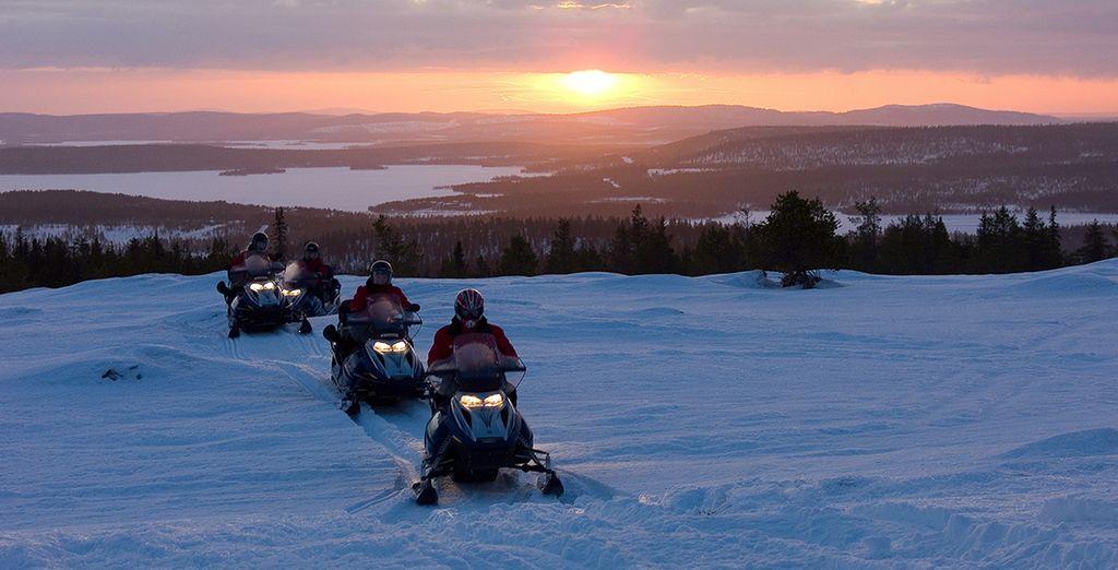 Maak u klaar voor een rit met een sneeuwwscooter