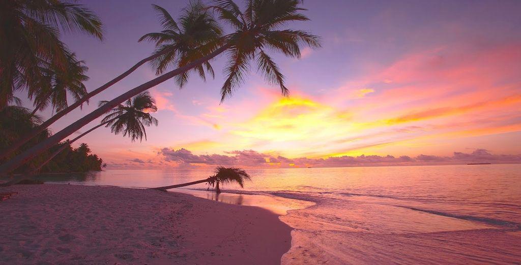 En geniet van een betoverende zonsondergang