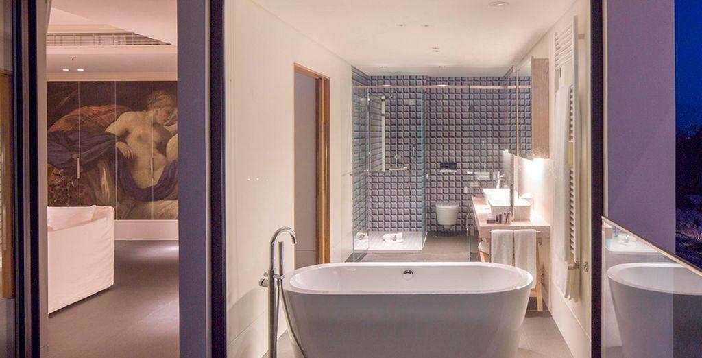 ... Met douche, bad en een spectaculair uitzicht