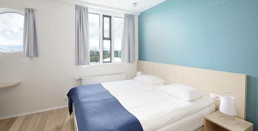 Waar u verblijft in een comfortabele en moderne kamer