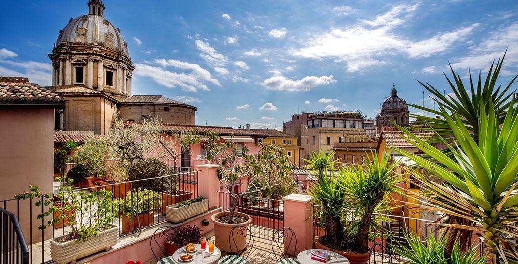 Kijk uit over de daken van Rome