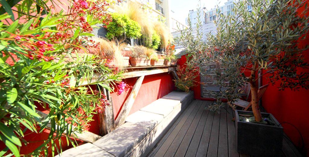 You've even got a sun-dappled outdoor terrace