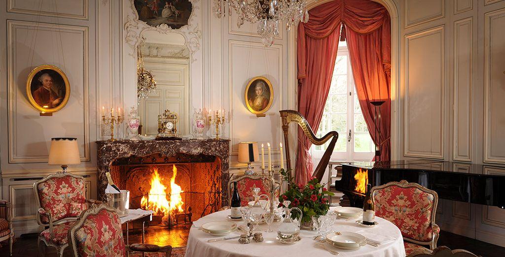 Enjoy fine wine by an open fire