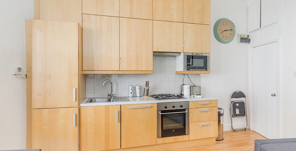 And fully equipped kitchen in each apartment