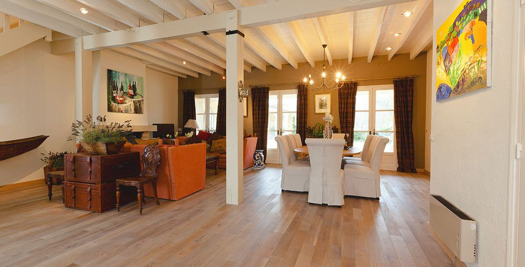 With wooden beamed ceilings and chandeliers