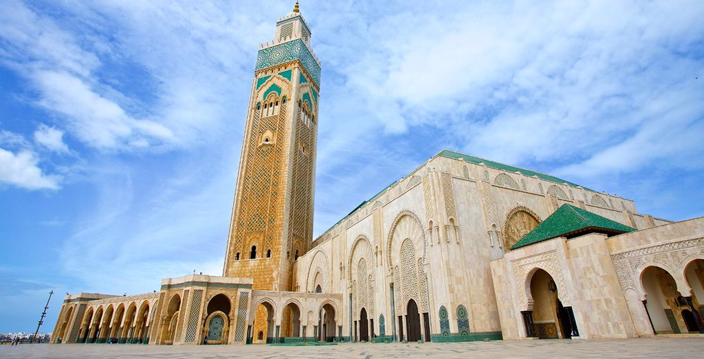 Visiting its iconic monuments such as Hassan II Mosque