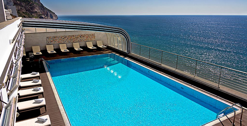 Magnificent rooftop pool with sea and mountain views....
