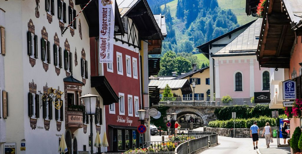 Kitzbuhel is famous for its brightly coloured buildings and quaint cobbled streets