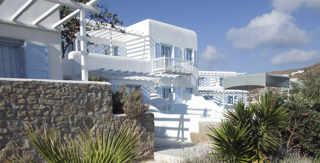 Showcasing traditionally whitewashed exteriors...