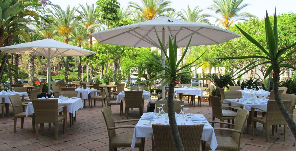 Enjoy meals outside on the terrace under the sun