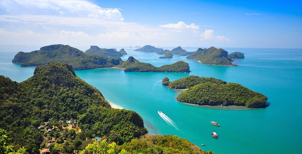 Stunning Ang Thong National Marine Park is just an hour's boat ride away