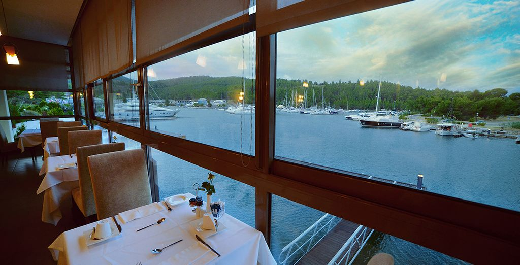 Dine overlooking the marina