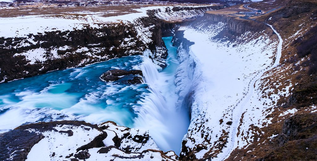 After some relaxation, you'll get to visit the beautiful Gullfoss Falls