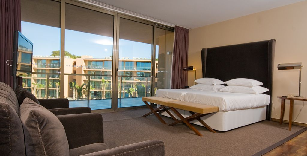 You'll be treated to an upgrade of a spacious pool view suite