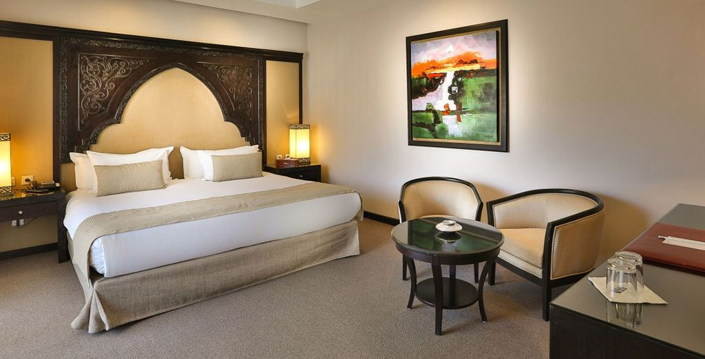 In a plush double room with opera or pool view