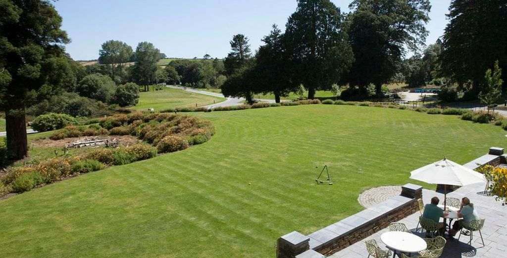The hotel grounds are lush