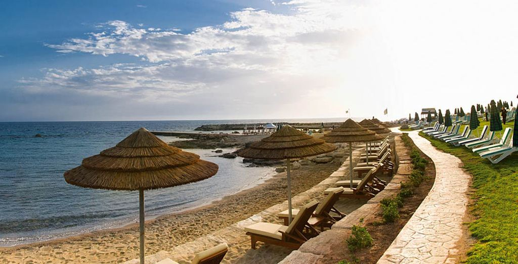 Right on the beach in picturesque Paphos