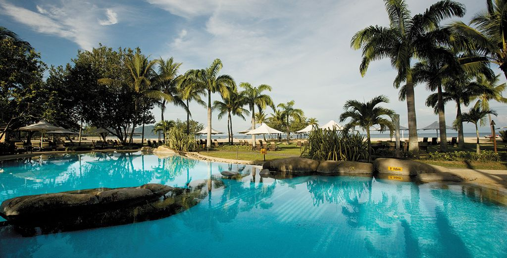 You'll fly to your second stop The Shangri-La Ras Ria Resort