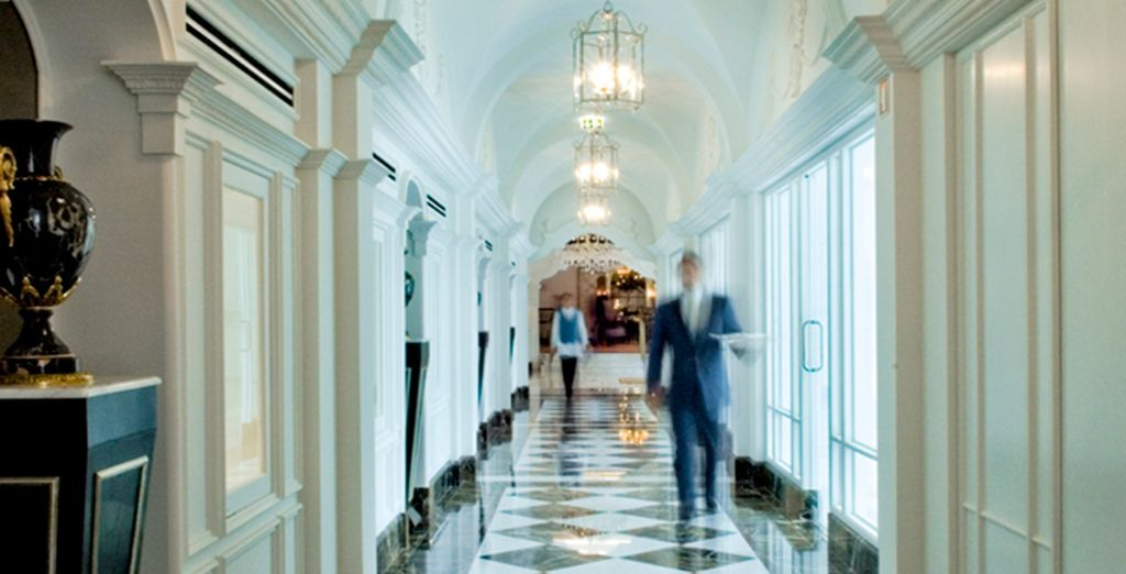 The cool, grand design of the hotel sings through in every corridor