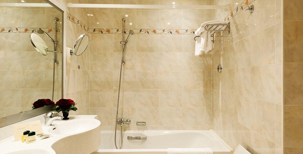 With a modern, luxurious bathroom