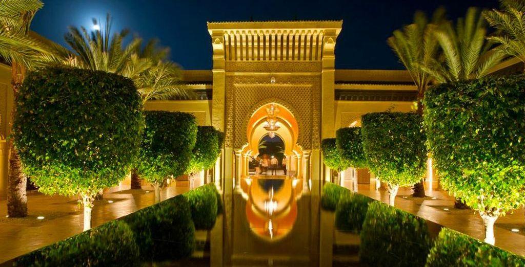 As night falls the resort lights up...