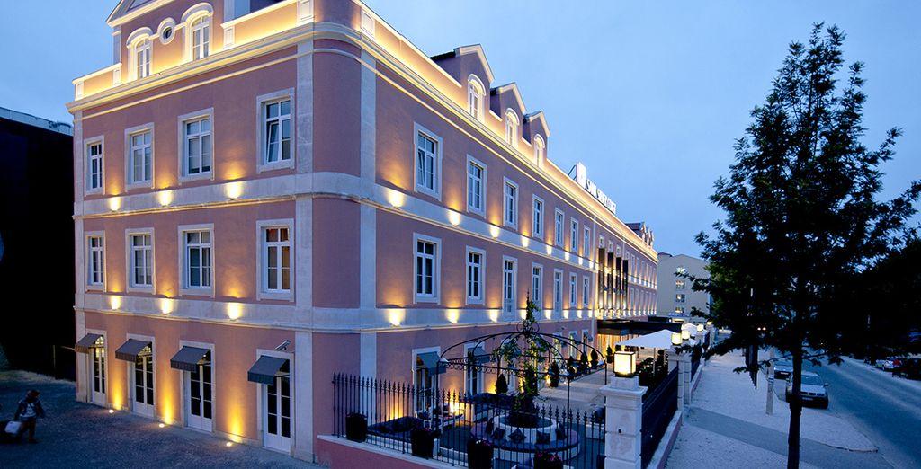 The original 19th century neoclassical facade...