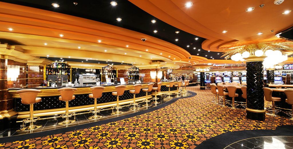 Enjoy a range of bars and restaurants on board the modern ship