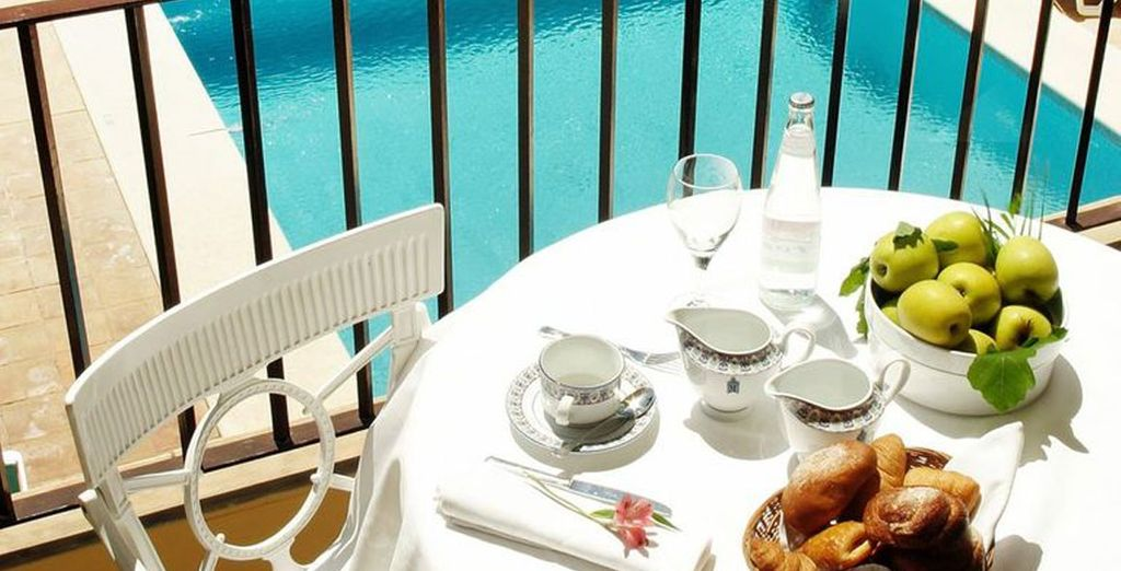 Or enjoy a snack as you look out to the pool