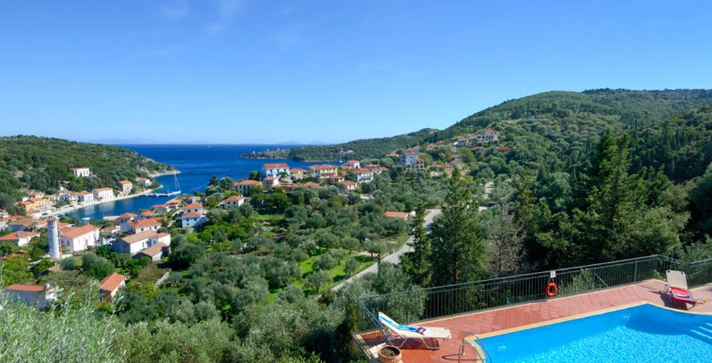 With breathtaking views over the village and coast