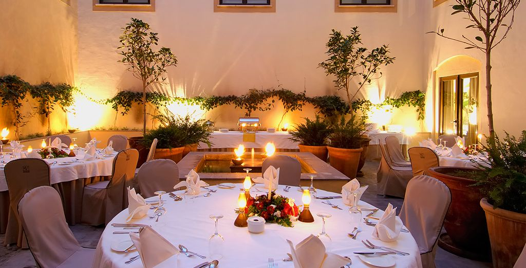 After a day of relaxation in the sun, enjoy a delicious meal at the hotel