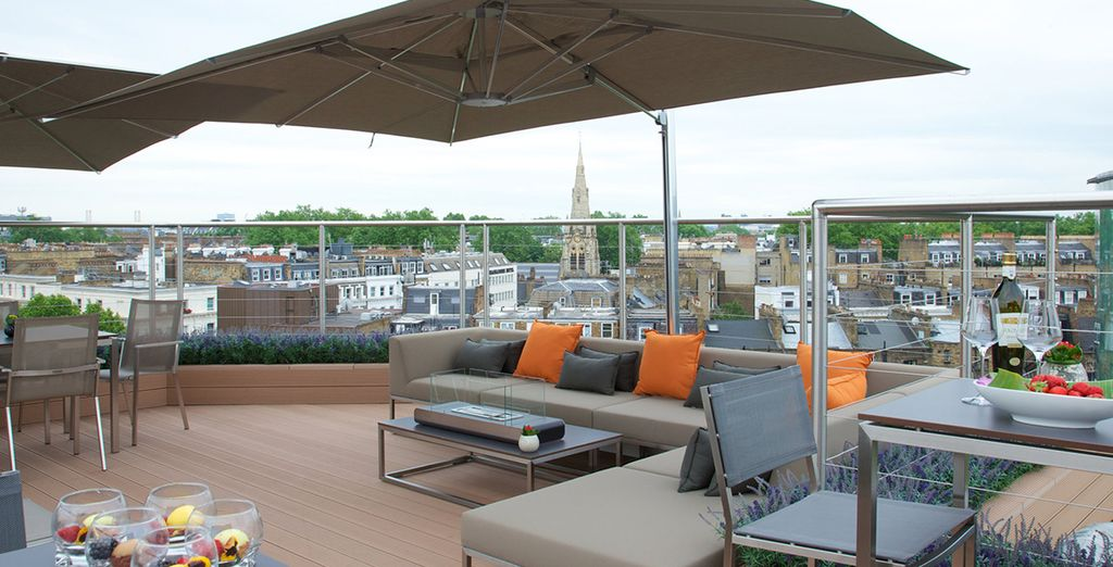 In warmer months, you can take in the city views from the terrace