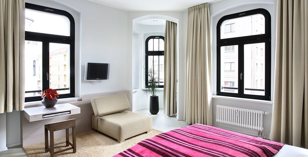 Your upgraded Deluxe Apartment is bright & modern