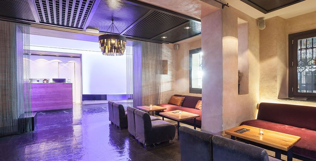 Walk through the welcoming lobby fitted with chic decor