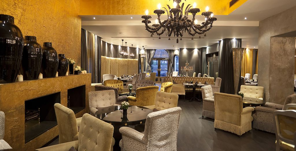 Dine amongst the gold of the restaurant