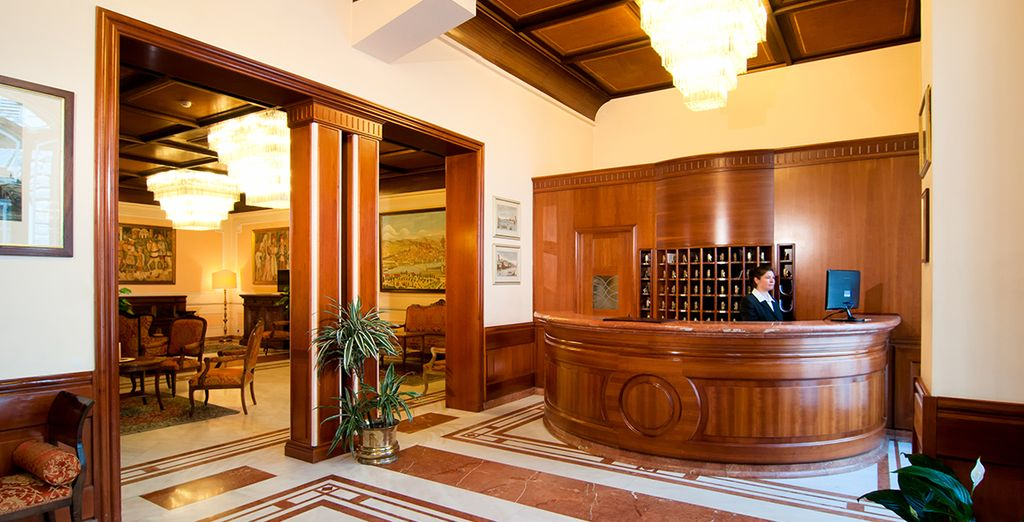 Be greeted in the lobby with Italian grandeur