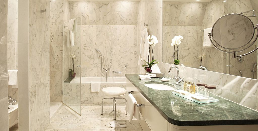 Complete with a stunning, white-marbled bathroom