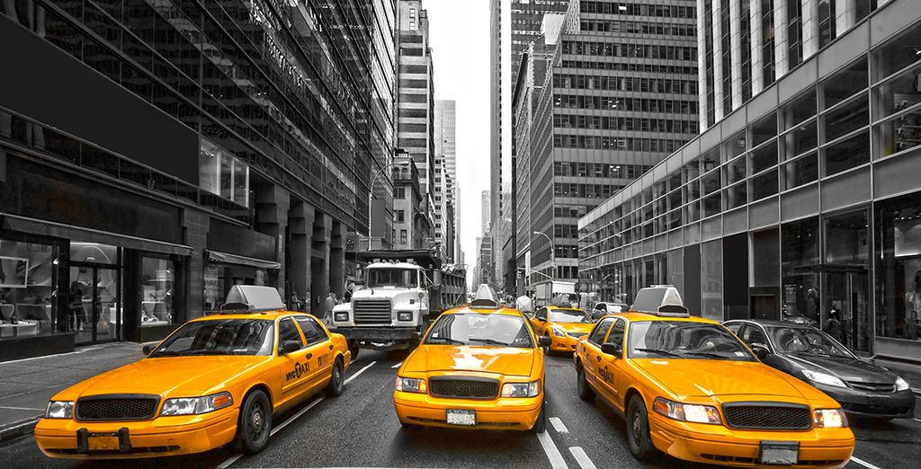Hail a famous yellow taxi...