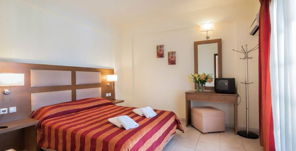 Your spacious accommodation is bright and welcoming