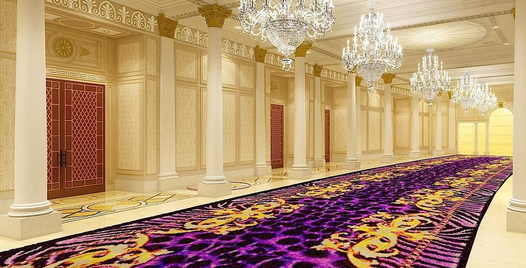 Make your way down the grand chandelier halls