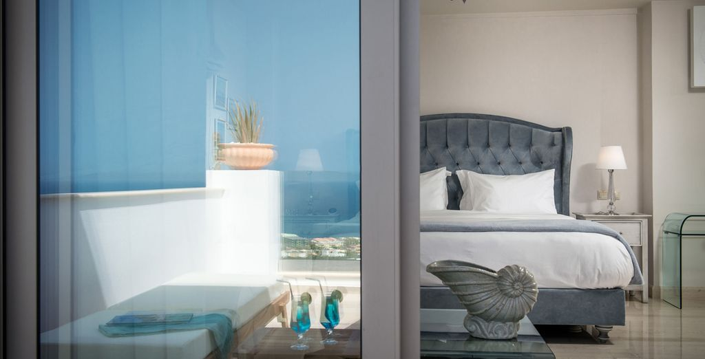 With a Jacuzzi on its private balcony looking out towards the Aegean