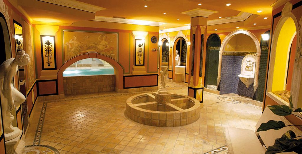 Which features a gorgeous spa