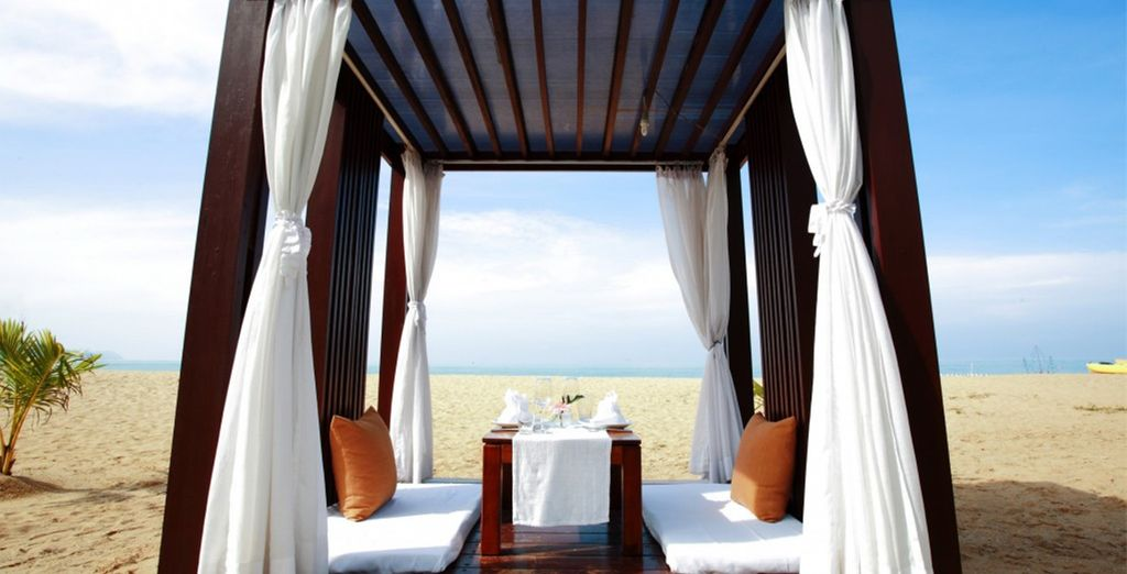 Or seek some shade in one of the beach cabanas