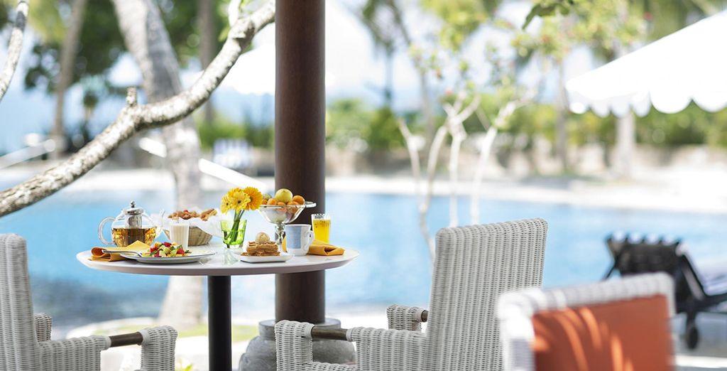 Enjoy snacks by the pool