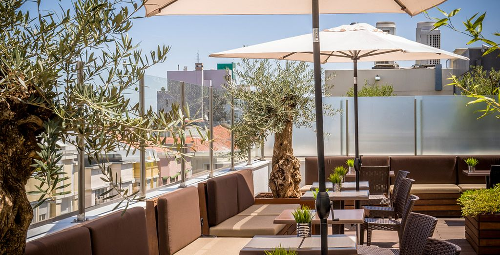 Return for a refreshing drink on the rooftop terrace