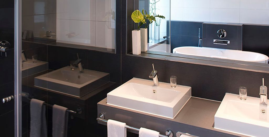 With a modern and elegant bathroom