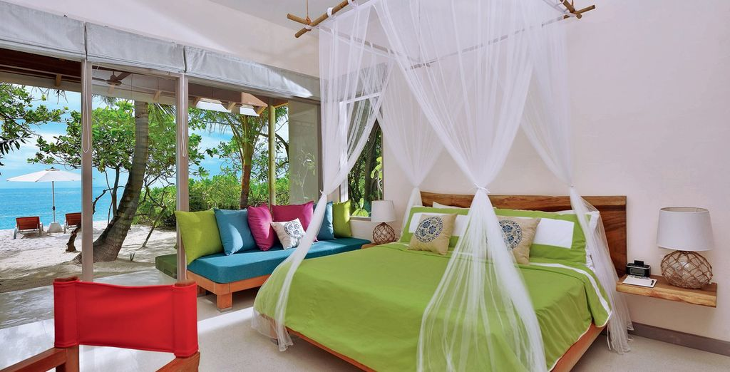 For the ultimate luxury choose to stay just steps from pristine white sands (pictured: Deluxe Beach Villa)